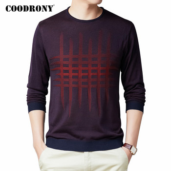 COODRONY Brand Sweater Men Spring Autumn Streetwear Fashion Plaid O-Neck Pull Homme Casual Knitwear Cotton Pullover Shirt C1073 coodrony brand wool sweater men streetwear fashion striped pull homme spring autumn casual knitwear v neck pullover shirts c1089