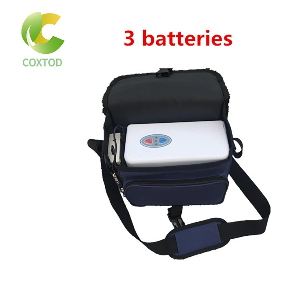 Coxtod 3 baterias genuíno mini concentrador de oxigênio portátil para viagens domésticas e uso do carro