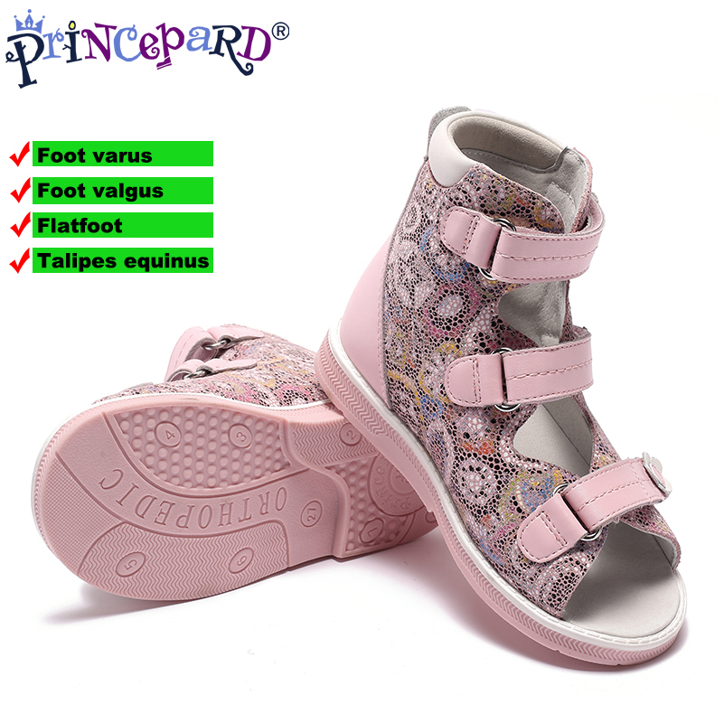 Princepard New Children Pink Flowered Printing Leather Orthopedic Shoes Kids Girls High Quality Sandals With Hard Sole