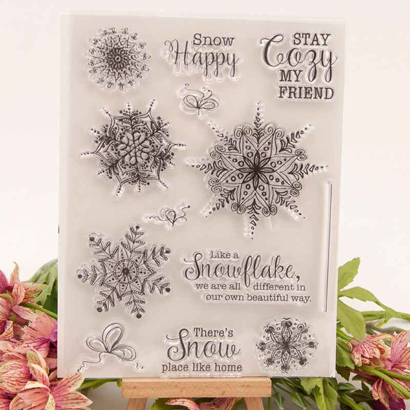 Xmas Snowflake Silicone Clear Seal Stamp DIY Scrapbooking Embossing Photo Album
