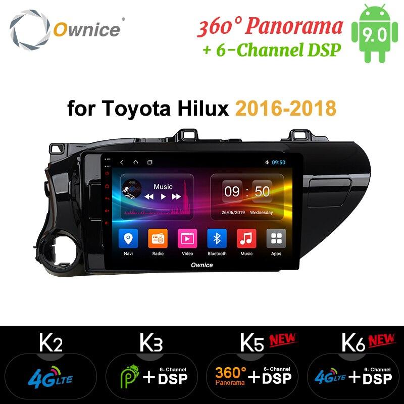 Ownice K1 K2 2 din Android 9.0 rádio do carro para Toyota Hilux 2016-2018 auto DVD on-board unidade de cabeça de Navegação GPS de ÁUDIO do computador