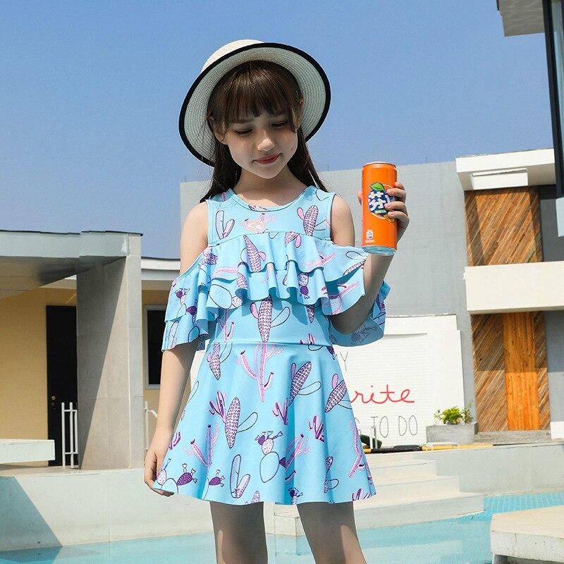 New GIRL'S Swimsuit Big Boy Korean-style Split Skirt-Boxers Baby Siamese Swimsuit Students GIRL'S Swimwear