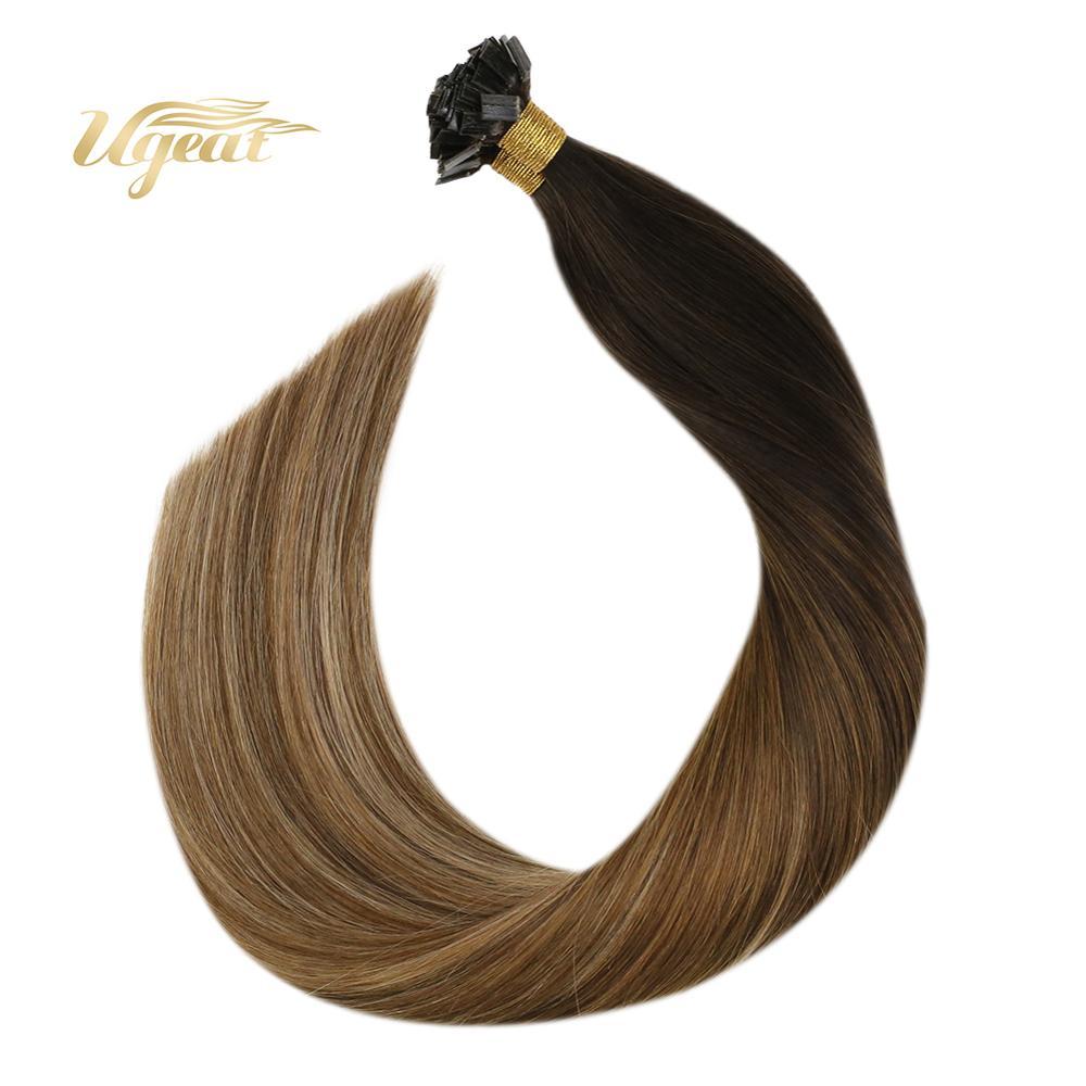Ugeat Flat Tip Hair Extensions Straight Keratin Human Hair 14-24