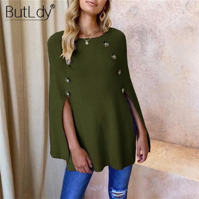 Button Irregular Cloak Sweater Women Knitting Pullover Autumn Winter Fashion 2019 Batwing Sleeve Sweater Knitwear Female Tops 8
