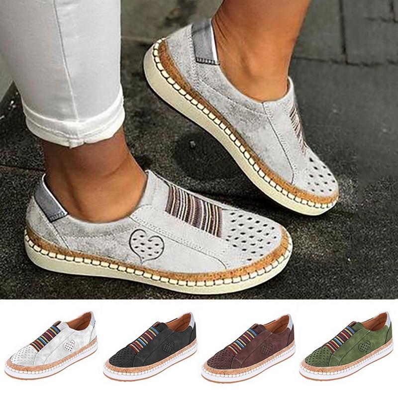 2019 Fashion Ladies Shoes Women Walking Shoes Sneakers PU Leather Shoes Comfortable Slip On Flats Plus Size Mesh Tenis Feminino