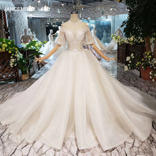 HTL281 Cheap Wedding Dress O neck half flare sleeves corset women wedding gown with train free shipping simpleплатье из фатина
