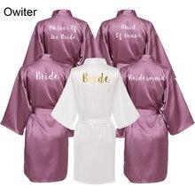 Owiter Gold White Font Gown Satin Silk Bride Mother Robe Wedding Bridal Bridesmaid Dressing Robes Women Sleepwear Plus Size