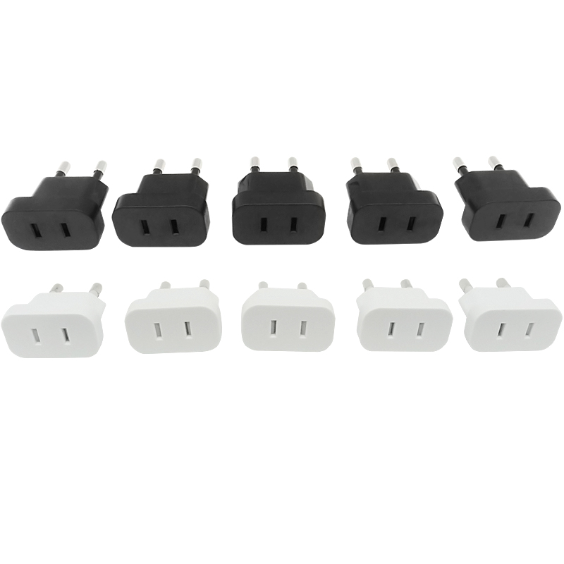 10PCS CN US To EU Plug Travel Adapter Power Plug 2 Pin USA Socket TO 2Pin EU 4 8mm Plug Converter Electrical Plug White Black