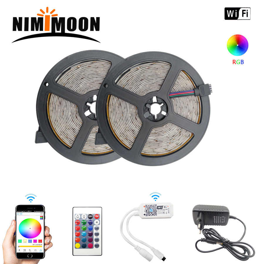 RGB LED Strip Lampu LED Tahan Air 5 M/10 M/15 M/20 M Diode 2835 DC12V 60 LED/M Tape Control Adapterribbon Dekorasi Rumah