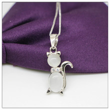 Cute Kitty necklace and pendant Womens Made of 925 sterling silver opal Pendant  Female clavicle chai