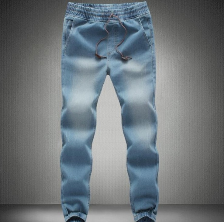 Summer Mens Denim Drawstring Waist Slim Fit Joggers Trousers Full Length Pants Washed Sweatpants Loose Casual Motor Jeans