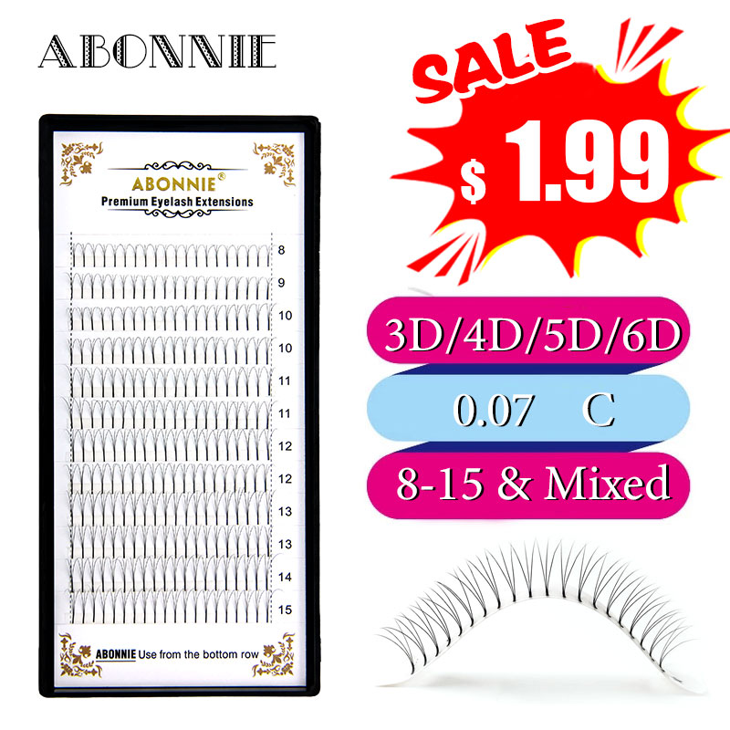 Abonnie 12lines Premade Fans Volum Lashes 3d/4d/5d/6d Individual Natual Lash Extension Heat Bonded Pre Made Eyelash Extension