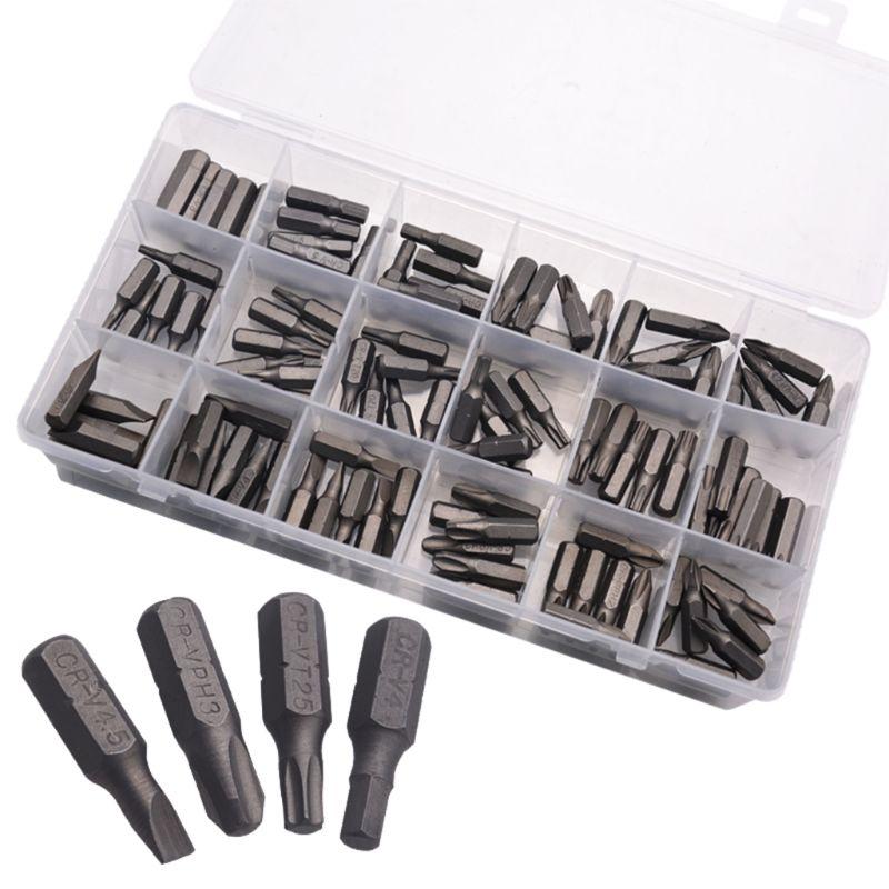 108pcs Screwdriver Bits Set Short Drill Screw Driver Power Tools 18 Types PZ H TX PH SL