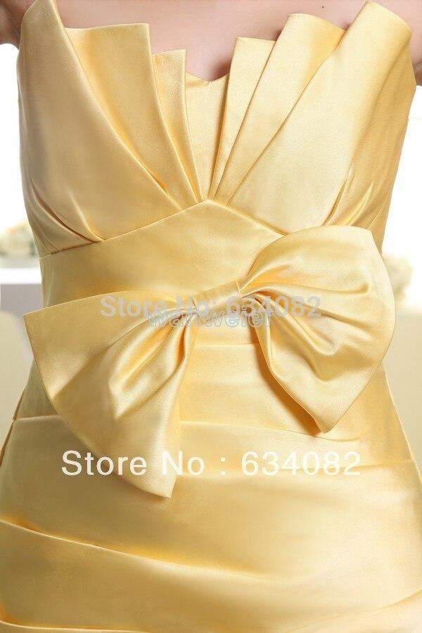 Купить с кэшбэком Yes free shipping 2016 yellow silver Bow cheap bandage vestidos formales maxi party Satin short bridesmaid dresses