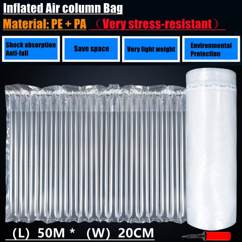 50MX20CM Inflatable Air Buffer PE Packaging Bump Filling Air Column Protect Bubble Bag Anti-Pressure Shock Express Mail Pocket