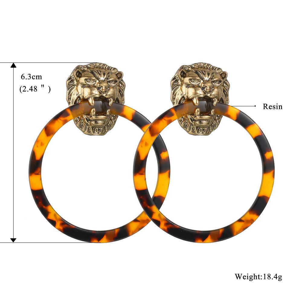CHSXY Punk fajne głowa lwa metalu oświadczenie kolczyki okrągłe koło Tortoiseshell geometryczne żywica akrylowa kolczyki zwisają Party prezent