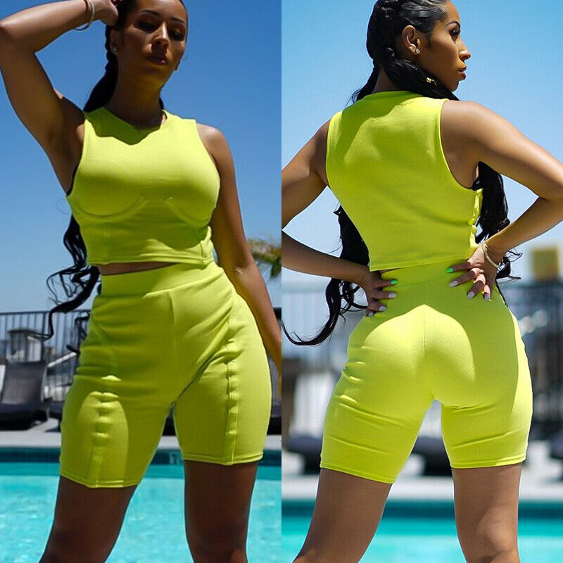 Goocheer Women Hot Summer Fluorescent Green 2Pcs Fitness Set Crop Top and Shorts High Waist Shorts Tank Top Bodycon Outfit