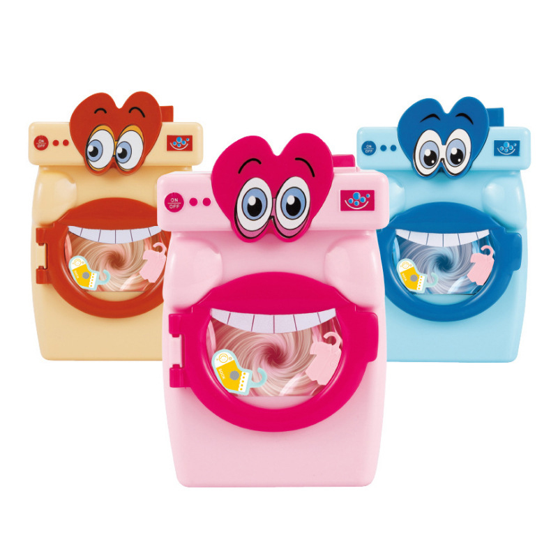 14 Pcs Cartoon Big Mouth Washing Machine Toy Girl Play House Simulation Life Appliances Pretend Housework Game Toys For Children