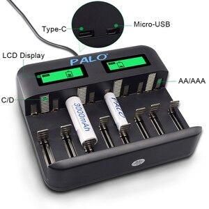 Image 5 - PALO 8 yuvaları LCD ekran USB akıllı pil şarj cihazı AA AAA SC C D boyutu şarj edilebilir pil 1.2V Ni MH ni cd hızlı şarj cihazı