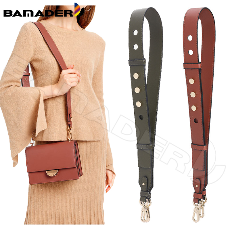 BAMADER Genuine Leather Bag Strap High Quality Rivet Wide Shoulder Strap Fashion Adjustable 90cm-110cm Women Bag Accessories New