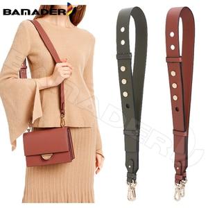 Image 1 - BAMADER Genuine Leather Bag Strap High Quality Rivet Wide Shoulder Strap Fashion Adjustable 90cm 110cm Women Bag Accessories New