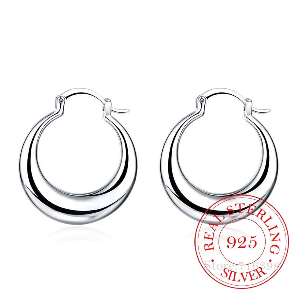 Personality Hyperbole 100% 925 Sterling Silver Simple Smooth Moon Big Hoop Earrings For Women Sterling-Silver-Jewelry Pendientes