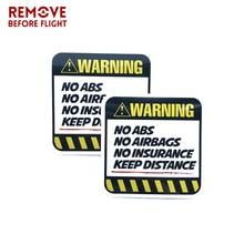 1 쌍 위험 자동차 스티커 경고 abs 에어백 보험 유지 거리 데칼
