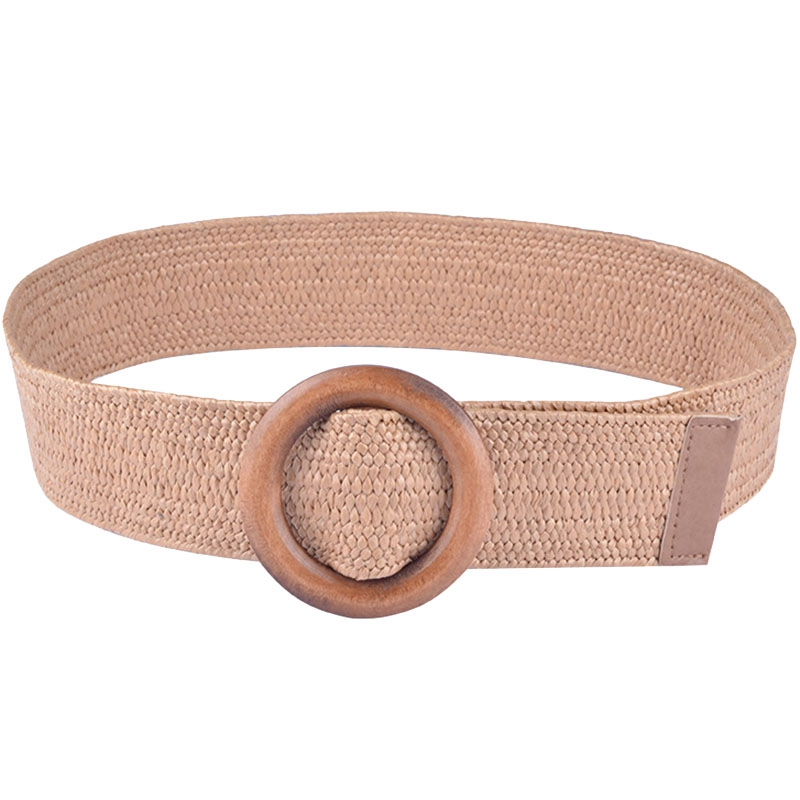 Braided Belt With Wooden Buckle Ladies Casual Solid Luxury Fashion Dress Summer Women Women Straw Belt Wood