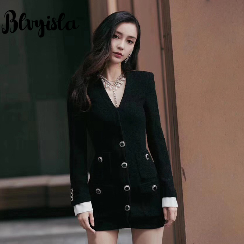 Blvyisla tissé col en v cristal simple rangée bouton Slim Mini robe petite asie taille dame hiver automne robes
