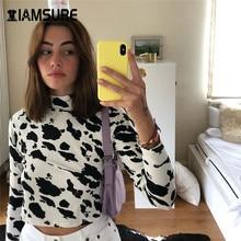 IAMSURE 2020 Autumn Long Sleeve Crop Top Shirt For Women Streetwear Fashion Animal Cow