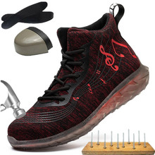 Holfredterse nowi mężczyźni buty robocze bhp przeciwzmarszczkowe stalowe palce odporne na przebicie trampki konstrukcja lekkie buty 1688-FZ-71 tanie tanio Pracy i bezpieczeństwa CN (pochodzenie) Mesh (air mesh) ANKLE Polka dot Dla dorosłych Skóra Split Okrągły nosek RUBBER