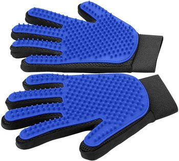 [Upgrade Version] Pet Grooming Glove-Gentle Deshedding Brush Glove-Efficient Pet Hair Remover Mitt-Enhanced Five Finger Design image