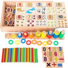 Деревянные математические игрушки Монтессори, обучающая коробка для детей ясельного возраста, дошкольного образования, раннего образования, обучающие средства, математические игрушки