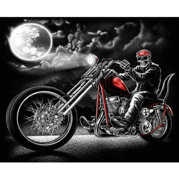 Broderie Diamant Halloween Squelette et moto