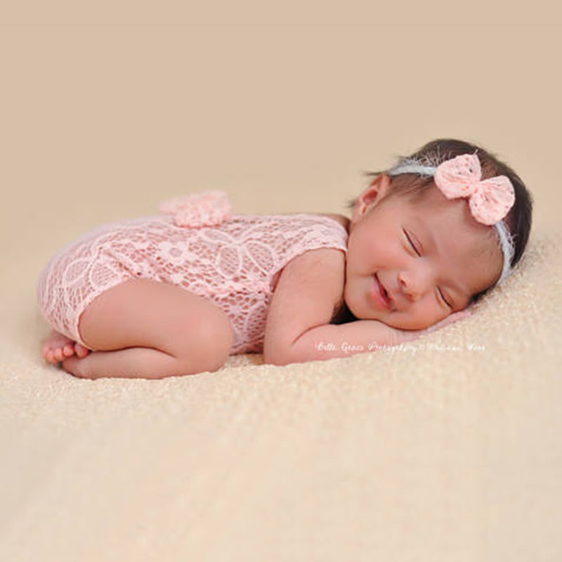 Lace Baby Rompers Newborn Infant Photography Clothes With Bow Headband Bebe Girls Photo Clothing Jumpsuit Costumes | Happy Baby Mama