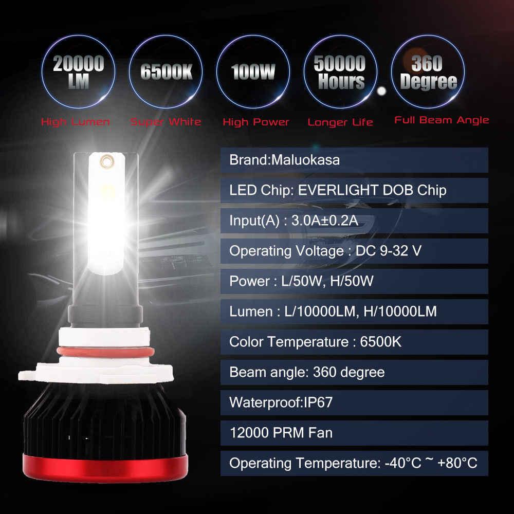 Car Light LED H7 H4 H8 H9 H11 H1 H3 9005 HB3 9006 HB4 10000LM/set 100W 6500K COB LED Car Led Headlight Lamps Car Head Bulb