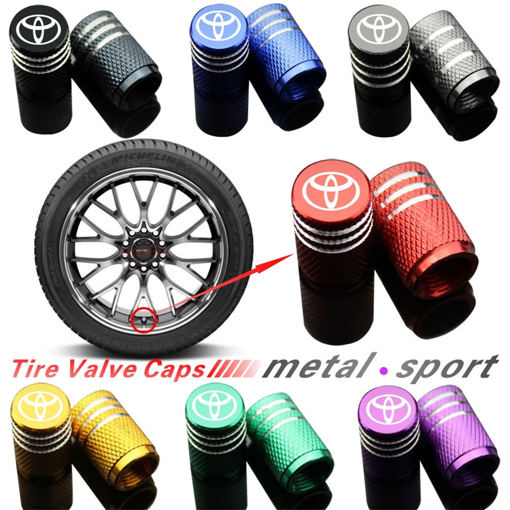 4Piece/set Sport Styling Car Wheel Tire Valve Caps Case For Toyota  Corolla Yaris Rav4 Avensis Auris Camry C-hr 86 Prius Emblem