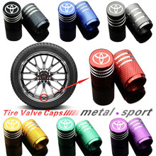 цена на 4Piece/set Sport Styling Car Wheel Tire Valve Caps Case for Toyota  corolla yaris rav4 avensis auris camry c-hr 86 prius emblem