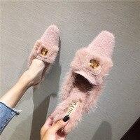 SWYIVY Rabbit Fur Furry Slippers Women Winter Velvet Fur Shoes 2019 Female Casaul Flat Half Slipper Mules Shoes Warm Mulers