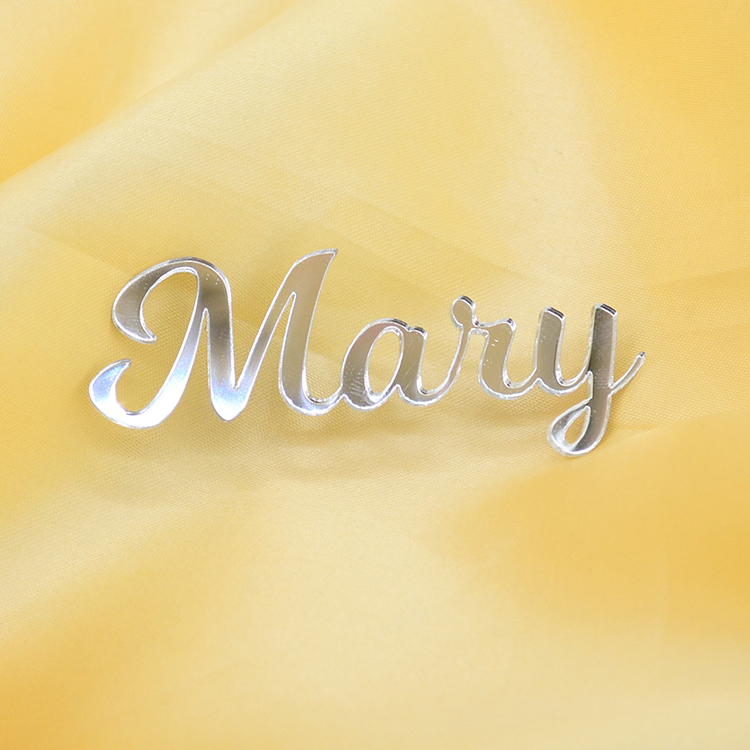 Personalised laser cut gold silver mirror acrylic guest name place cards for wedding party decoration image