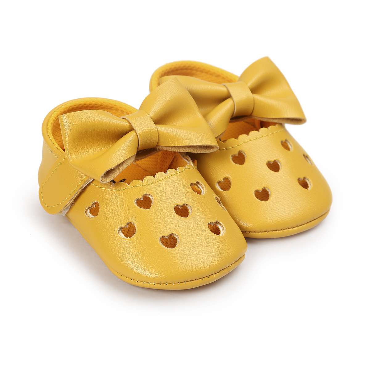Infant newborn yellow baby crib shoes girl princess lovely bowknot pu soft sole anti-slip breathable first walker toddler moccasins