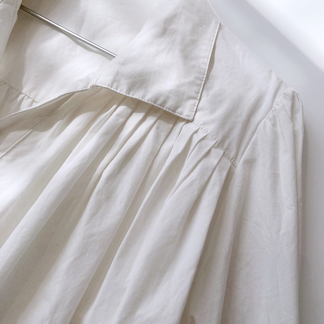2020 Women Autumn Puff Sleeve Blouses Long Sleeve Turn Down Collar Womens Tops And Blouses White Shirt Blusas Roupa Feminina 5