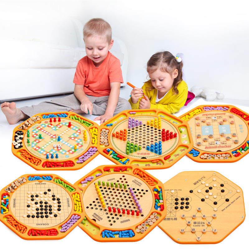 Educational Toys Checkers Flying Chess 12-in-1 Chess Children's Wooden Early Learning Educational Toys Gifts M122