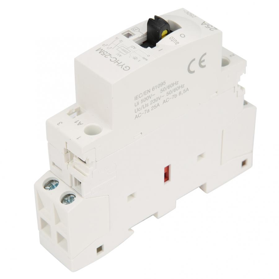 magnetic contactor 2P 25A 220V 50Hz DIN Rail Household AC Contactor with Manual Control Switch Electrical Equipment