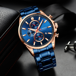 Image 3 - New Curren Watches Mens Brand Fashion Sport Chronograph Quartz Male Watch Stainless Steel Band Date Clock Luminous Pointers
