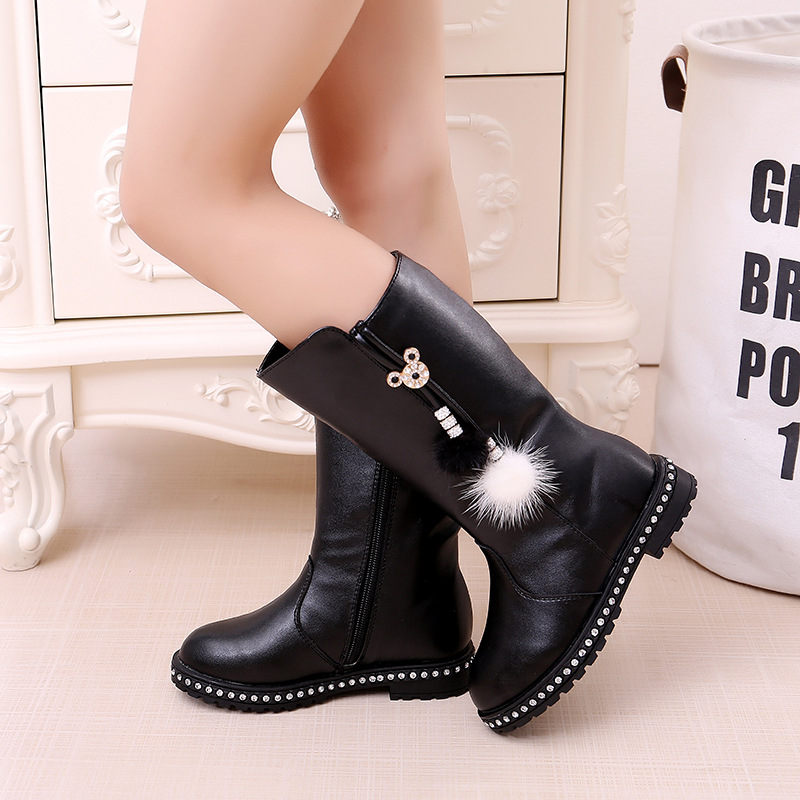 Girls Boots Children's High Boots Autumn And Winter Student Kids Plus Velvet Cotton Shoes Fashion Tassels Leather Martin Boots