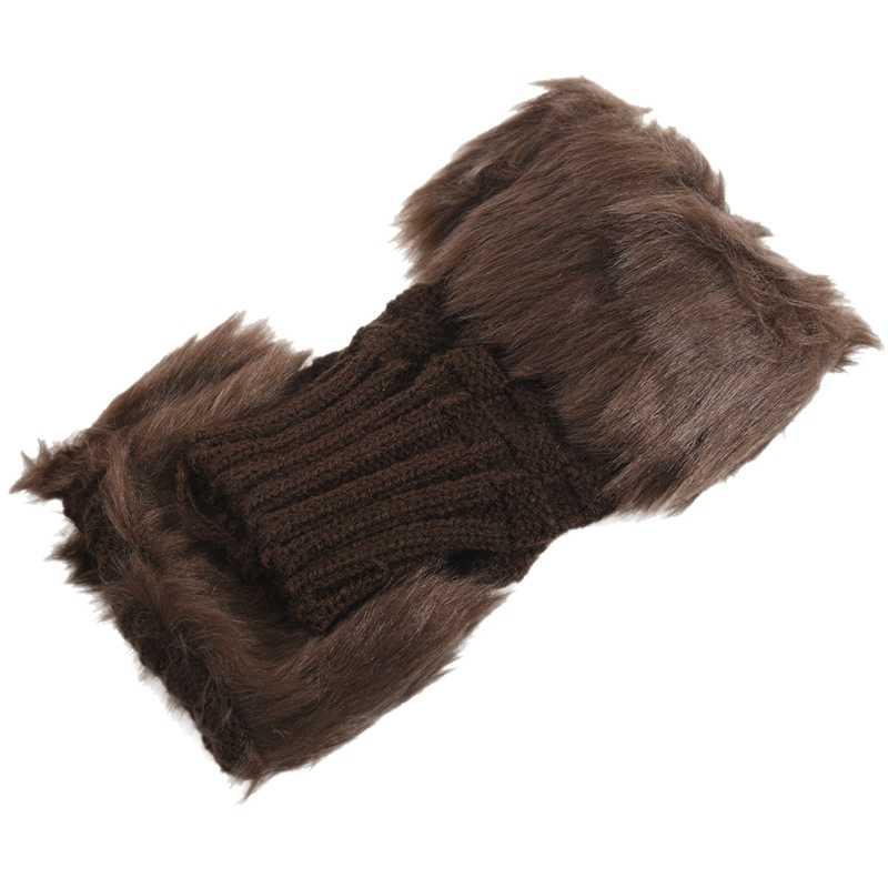 Dame Mädchen Shaggy Faux Fur Knit Fluffy Hände/Beinlinge Ankle Boot Abdeckungen Handschuhe-Braun