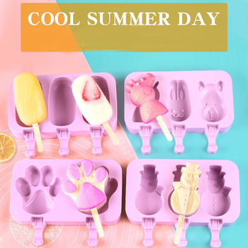 New Silicone Ice Cream Mold Popsicle Molds DIY Homemade Cartoon Ice Cream Popsicle Ice Pop Maker Mould image