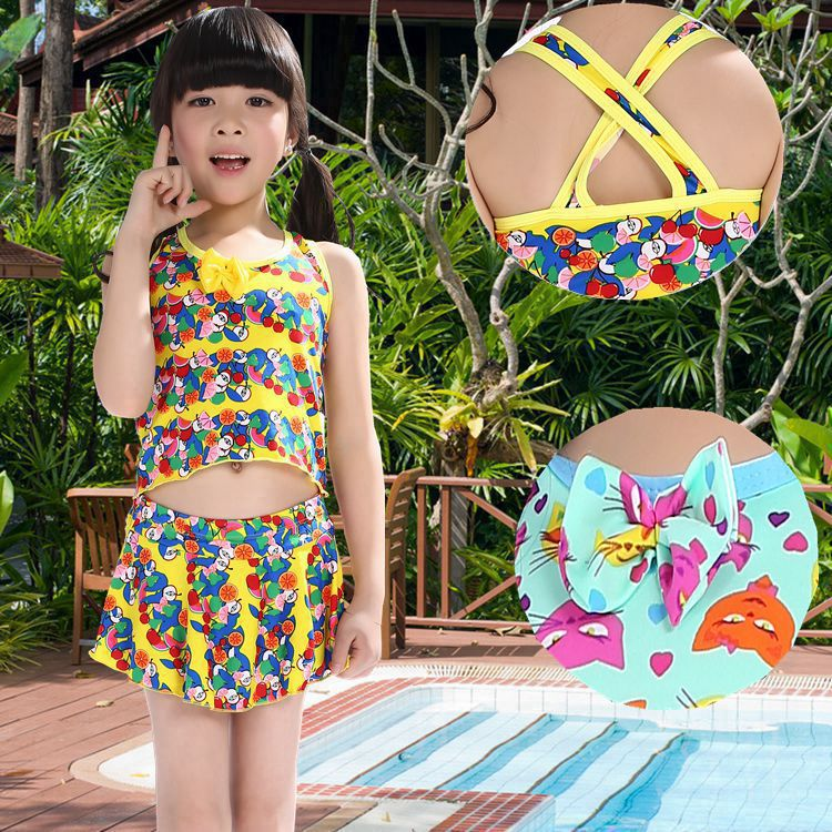Cute Baby Split Type Tour Bathing Suit Children Briefs Bathing Suit 6-8-Year-Old Children New Style Wholesale Manufacturers