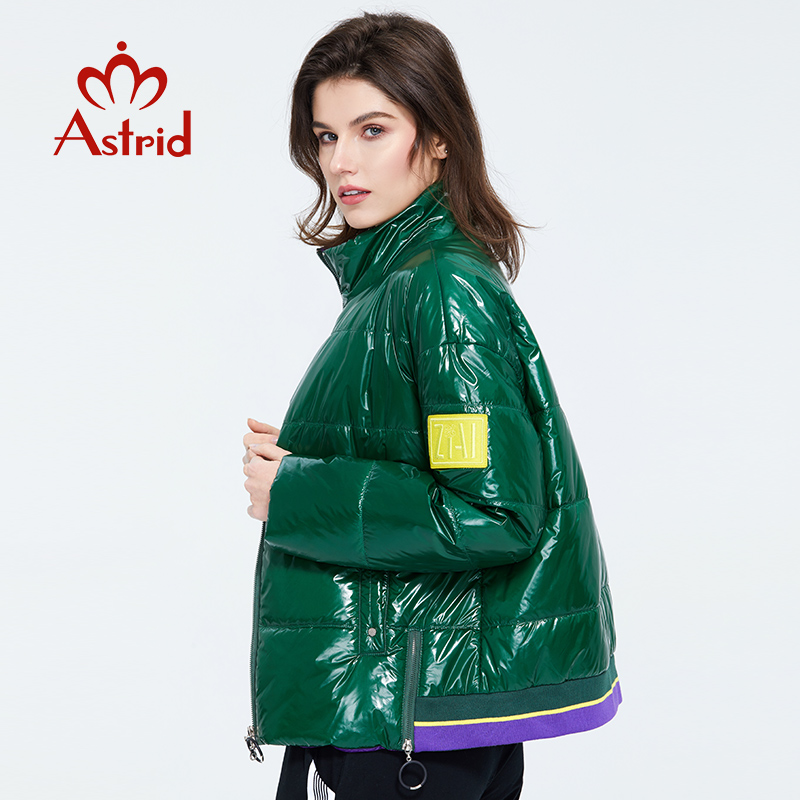 Astrid 2020 Spring Women Parka Coat Warm Jacket Women Thin Cotton Bright Colors  Short  Coat Loose  Standing Collar  ZM-3073